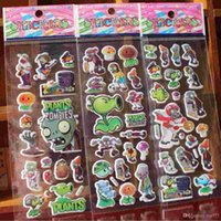 baby crafts kids - 2016 New Plants vs Zombies Anime Cartoon Stickers D PVC Adhesive Bubble Stickers Kids Classic Toys Craft For baby Children