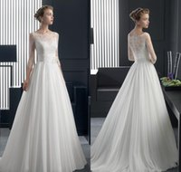 Wholesale Custom Made Elegant Bateau A line Wedding Dress with Half Sleeves Full Length Lace Chiffon Bridal Gown Lace Wedding Ball Gowns