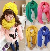 knitting fur scarf - 9 colors Girls Crochet Handmade Fur Balls Scarf Muffler Wraps Winter Knitting Warmth Long Scarves Children Kids Cloth Christmas K2894