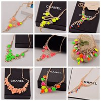 Wholesale 5 Mix Candy Color Luxury Crystal Necklace For Women Elegant Noble Sweater Necklace Best Gift For Girl Lady Party Jewelry
