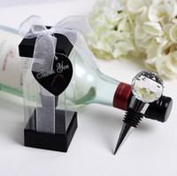 Wholesale Lovebirds Favor - New top Chrome Bottle Stopper with Crystal Ball Lovebirds Wedding Favors Wine Favor Christmas Gift #44144