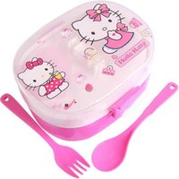 plastic lunch box - Special Offer Hot Sale Bento box Hello kitty Lunch box Dinnerware sets Children Cartoon Plastic Lunch boxes Fork Spoon Kit
