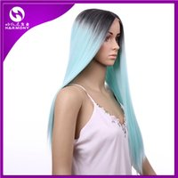 ombre lace front wig - Hair wigs Lace Front Wigs inch ombre color chocolate Black Mint Green Synthetic Heat Resistant Hair extensions