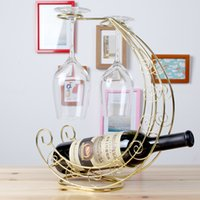 wine bottle holder - European iron wine cup holder fashion red bottle rack Corsair style living room hotel bar fashion ornaments