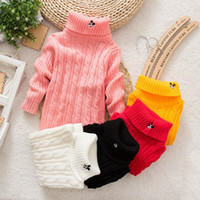 Wholesale Pure Color Winter Boy Girl Fashion Thick Knitted Bottoming Turtleneck Shirts High Collar Sweater
