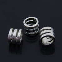 bead thread sizes - Jewelry components Anique Silver alloy Screw thread Pattern Big Hole Beads x11x11mm inner size mm