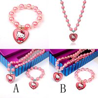 Wholesale New Children Jewelry Set Cartoon Hello Kitty Cat Necklace Bracelet piece set Plastic Pearl Bead Jewelry Accessories Sets
