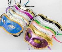 Wholesale 20PCS HOT Half Face Mask Halloween Masquerade mask male Venice Italy flathead lace bright cloth masks