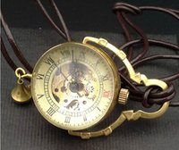 ball fob - Men Ladies Solid Brass Rotary Crystal Ball Mechanical Necklace Watch Unisex Steampunk Vine Design Half Hunter Pocket Watches Dangler Fob