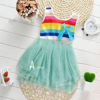 Cheap 2015 girls summer dresses kids Weavin Summer striped skirt Kids sleeveless dress new Korean children's clothing rainbow dresses