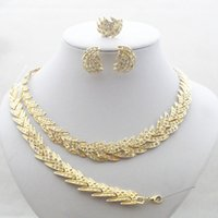 american guarantee - 100 Good Quality Guarantee K Gold Filled Crystal Jewelry Sets Feather Design Necklace Earring Bracelet Ring Jewelry Set