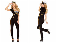 Wholesale 3 PC Black Navy Uniform Cosplay Costume Pant With White Cap sexy adult halloween costume for women New Sexy Costume Cops Robbers