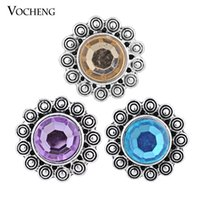 Clasps & Hooks Alloy everyday VOCHENG Noosa 18mm Snap 3 Colors Vintage Crystal Button Interchangeable Popper Jewelry Accessory (Vn-553)