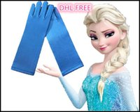 Wholesale 2015 Girls frozen elsa gloves princess kids gloves for costume long Blue Satin Mittens frozen cosplay children long blue gloves J082903