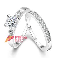 anniversary band platinum - AKR020 A Fashion K Platinum Rose Gold Plated Czech Drill Men Women Eternity Couple Rings Endless Love Rings Jewelry