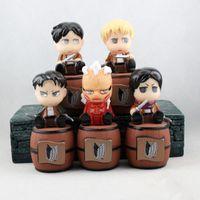 bear attack - 5pcs Cute Anime Attack On Titan Brinquedos Shingeki No Kyojin Levi Eren Mikasa Piggy Bank PVC Action Figure Juguetes Kids Toys