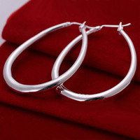 large hoop earrings - 1Pair Hot New Sterling Silver Plated Round Big Large Hoop Earrings Huggie Loop Earrings for Women Gift Free Ship