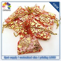 Wholesale Fashion x9cm Chinese Style Red Rose Organza Joyous Wedding Favor Gift Bags Candy Jewelry Packing Pouches Gift Wrap