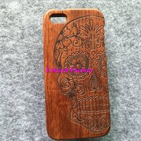 For iPhone 6S PLUS sugar phone - For Wooden Cases iPhone S Plus Genuine Rosewood Cell Phone Cases Back Cover For iPhone S Plus Housing Mexian Sugar Skull