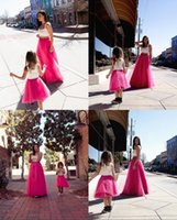 Wholesale Lovely Mother And Daughter Tulle Skirts Long Layered Fushia Skirt Prom Party Wear Dress Family Clothing Custom Made Long Length