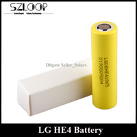 Wholesale Authentic LG HE4 Battery mAh A Mod Battery Flat Top fit Wismec Reuleaux w Leopard W FEDEX Freeshipping