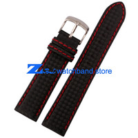 band carbon - Carbon Fiber strap Watchband bottom is genuine leather Red stitching soft mm mm mm mm male watch band accessories