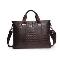 Wholesale Hot sale Head Layer Cowhide Alligator Mens Bag Genuine Leather Briefcase Handbag Men Shoulder Bag Laptop Bag