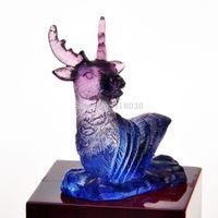 azure decor - Feng Shui Liuli Paperweight Chinese Zodiac Reindeer Azure Stone Art Home Office Decor