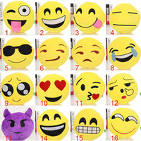 Wholesale 23 Styles Cushion Cute Lovely Emoji Smiley Pillows Cartoon Facial QQ Expression Cushion Pillows Yellow Round Pillow Stuffed Plush Toy