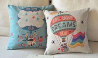 balloons illustration - Customized Hot Air Balloon Illustration Pillow Cushions Refreshing Cartoon Cushion Art Cushions Home Decor
