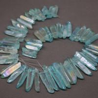 aqua rocks - Approx Mystic Titanium Aqua Crystal Quartz Rock Natural Raw Freeform Spikes Points Drilled Briolettes Inch Women Necklace