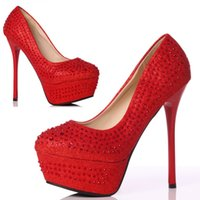 high heel red sole - Red Wedding Shoes with Rhinestones Platform Pumps with Stiletto Heels Thick Soles High Heels Women s Shoes for Prom Evening Cocktail Party