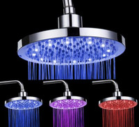 Wholesale Round Top Spray LED Shower Heads Head RGB ABS Temerature Sensor Bathroom Accessories SDH B2
