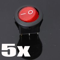 Wholesale 5pcs mm terminals Red Neon V A Universal LED illuminated Car button lights ON OFF Round Rocker Switch Dash Boat Van