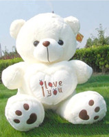 bear souvenir - 1pc cm White Giant Size Valentines Day I Love You Big Teddy Bears For Sale Birthday Gift Girlfriend Souvenir