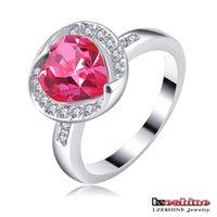 Wholesale LZESHINE Brand Kate Middleton Heart Wedding Ring Platinum Plated Austrian Crystal SWA Element Female Dress Rings Ri HQ1120 B
