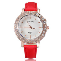 Wholesale Newest style fashion designer ladies watch brand leather strap crystal diamonds rose gold watch quartz clock hours gift