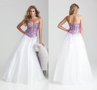 beaded organza trim - New Arrival Beaded Sequins Trimmed Ball Gown White Sleeveless Floor Length zipper Rhinestone Sleeveless Backless Evening Party Gowns