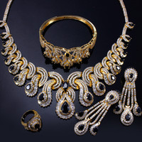 asian jets - 18k gold filled deluxe Jewelry sets pave setting big jet teardrop cubic zirconia sets of Necklace Earrings Ring Bracelet