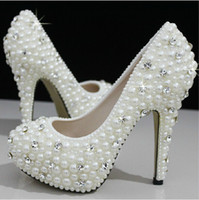 Wholesale New Ivory beautiful Vogue Crystals and Pearl High Heels Wedding Bridal Shoes