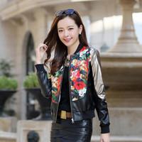 Precio de Leather jackets-La capa floral del cuero del patrón de la impresión de la manera de la chaqueta de cuero del otoño del nuevo de las mujeres 2012 de Melinda outwear el envío libre WD220
