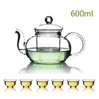 coffee pot tea pot - Drinkware Coffee Tea Sets Heat resistant glass teapot kung fu tea pot flowers transparent teapot filter liner flower pot suit