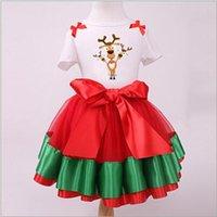 ballet snow - 50 TOPB4613 color kids Christmas suits sets Santa Claus T shirts skirts snow man tops skirts bow TuTu Pettiskirts Ballet Tulle Skirts