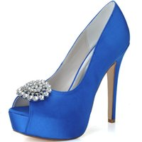Wholesale 2015 Hot Wedding Shoes New Fashion Rhinestones Crystal Open Toe Prom Evening Party Shoes High Heel Bridal Shoes