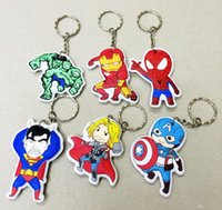 Wholesale 12cm The Avengers Action Figure Cute Keychains Ironman Spider man Superman Thor Suoer Heroes Collections Toys Best Gift
