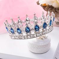 al por mayor tiara azul reina-Corona de la reina de lujo Blue Diamond desfile nupcial de la boda accesorios de la joyería de quinceañera bizantina Tiaras Partido Prom Diadema