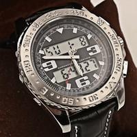 Casual Men's Day/Date New Luxury Brand Men Watches Chronometre Quartz Digital Led Watch Mens Classic Two Tone Wristwatch Black Dial Leather Strap Original Clasp