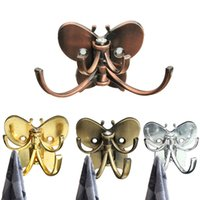 Wholesale 2015 Brand New Practical Zinc Alloy Butterfly Design Double Peg Door Wall Hanger Holder Hook Bathroom
