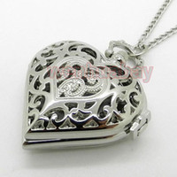 Wholesale Silver And Golden Hollow Quartz Heart shaped Pocket Watch Necklace Steampunk Hour Pendant Womens Gift A271
