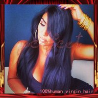 beautiful textures - Fashion Beautiful Straight Style Virign Indian Human Hair Silk Top Lace Front Wig With Baby Hair In Stock